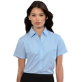933F Ladies Short Sleeve Oxford Blue Blouse