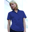 65014 Ladies Short Sleeve Navy Poplin Shirt